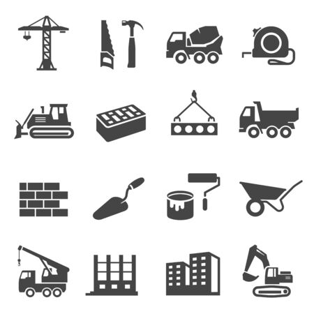 Construction icons set, industrial business and professional tools. Engineering or building technology. Vector line art illustration on white background