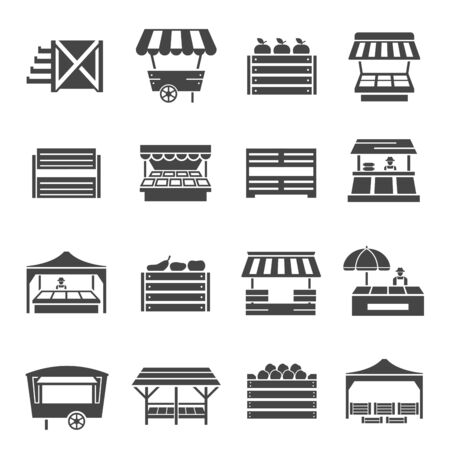 Farmer vegetables market with cover icon set