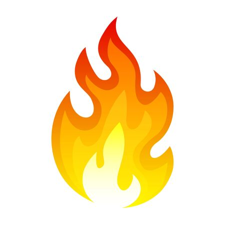 Burning fire icon, flaming and explosion heat. Night campfire. Vector flat style cartoon illustration isolated on white background
