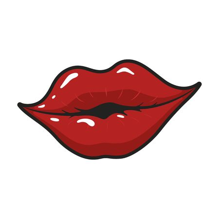 Female bright glossy lips in a smile. Cosmetic and attractive shiny fashion. Vector flat style cartoon illustration isolated on white background