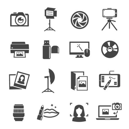 Photo studio icon set, professional photographic equipment Illusztráció