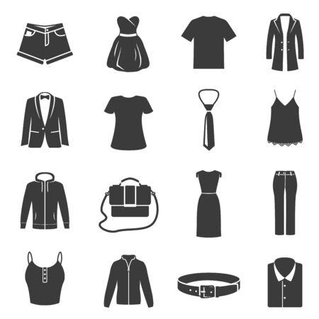 Satz weibliches, männliches Kleid, schwarze Schattenbildikonen der Kleidung lokalisiert auf Weiß. Zubehör-Piktogramme.