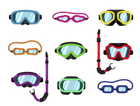 Vector set of goggles, dive or scuba mask with snorkel for underwater swimming, diving. Protective ski glasses for safety winter sport activity. Multicolor flat icons collection isolated on white.