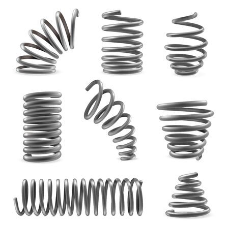 Set of various shaped metal springs tapering, expanding in different places. Compressed, extended coils.