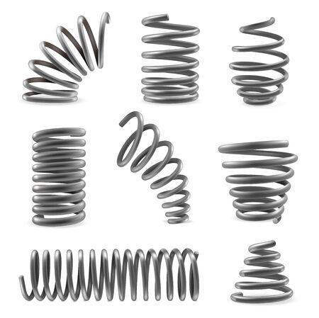 Zestaw sprężyn metalowych o różnych kształtach zwężających się, pęczniejących w różnych miejscach. Skompresowane, wydłużone cewki.