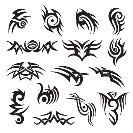 Set of tribal style tattoo design, arm band, adornment, decoration. Folk motif vector collection. Ilustracje wektorowe