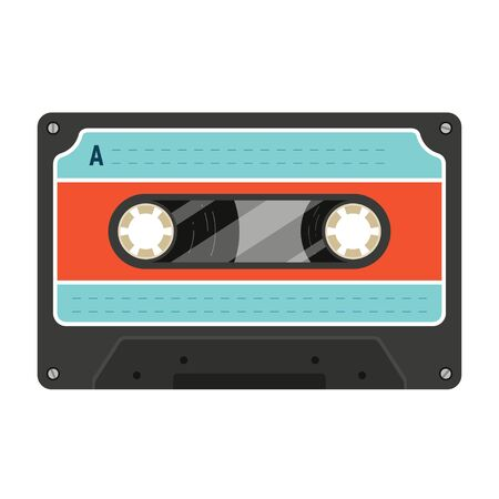 Old styled plastic compact or audio cassette with two miniature spools and magnetic tape for recorder, player. Black retro musicassette with blue and red label. Realistic flat vector icon on white. Фото со стока - 146713226
