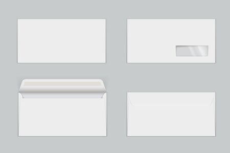 Paper envelopes with transparent window realistic mock ups set. Letters with gummed closure, open and closed. Front and back view. Empty blank vector template illustration isolated on grey background.