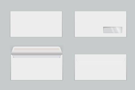 Papierumschläge mit realistischen Mock-ups mit transparentem Fenster. Briefe mit gummiertem Verschluss, offen und geschlossen. Vorder- und Rückansicht. Leere leere Vektorschablonenillustration lokalisiert auf grauem Hintergrund.