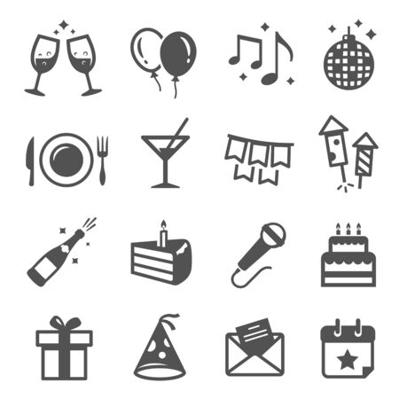 Holiday party thin line icons set isolated on white. Vettoriali