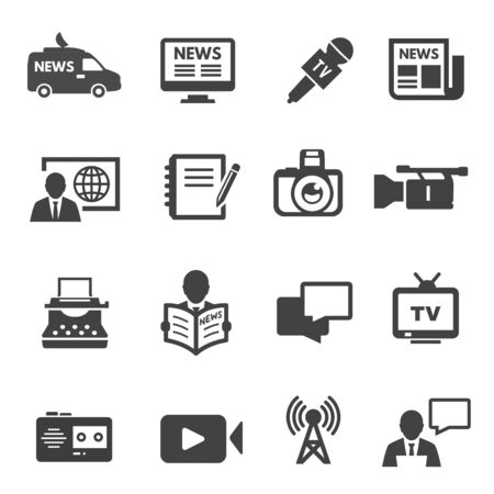 Journalism and broadcasting black icons set isolated on white.