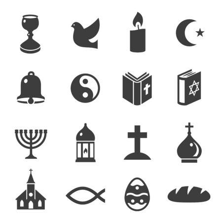 World religious symbols black icons set isolated on white. Christianity, islam, judaism, taoism.