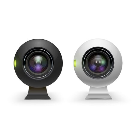 Web cameras white and black realistic set. Computer webcams. Modern technology for video conferencing, meeting, chat, internet communication. Vector illustration isolated on white background. Vectores