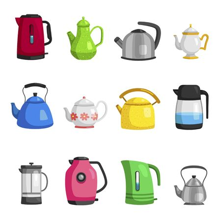 Kettles, teapots, jugs, pitchers, carafe flat set. Teakettles classic porcelain, stainless steel stovetop and modern electric whistling models. Vector cartoon collection isolated on white background. Stock Illustratie