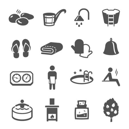 Sauna, bath black icons set isolated on white. Wellness, spa, health and body care pictograms collection, logos. Recreation, relaxation, rehabilitation, bathhouse vector elements for infographic, web.