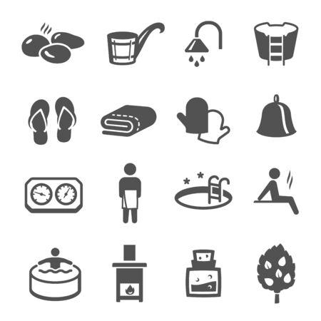 Sauna, jeu d'icônes de bain noir isolé sur blanc. Collection de pictogrammes de bien-être, spa, santé et soins du corps, logos. Loisirs, détente, rééducation, éléments vectoriels des bains publics pour infographie, web.