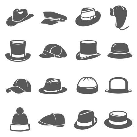 Ensemble d'icônes de chapeau, accessoire de coiffure traditionnel
