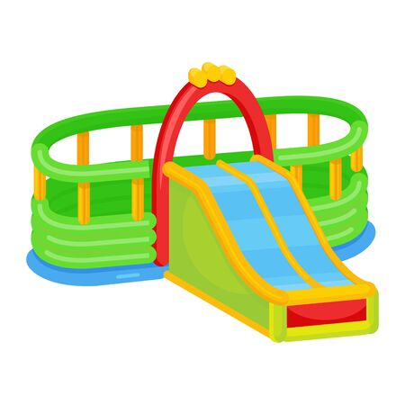 Inflatable slides icon, kid activity for jumping Illustration