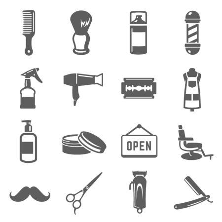 Barbershop icon set, professional barber business design