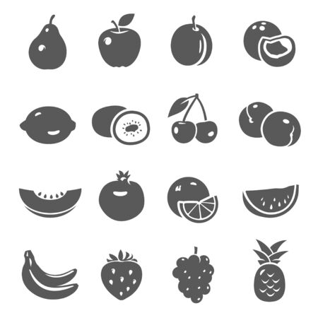 Fruits, berries black silhouette bold icons set isolated on white. Pear, apple, plum, peach pictograms collection. Apricot, lemon, kiwi, cherry, melon, orange, banana grapes vector elements for web