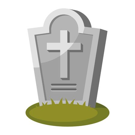 Gravestone with cross on green grass. Old tombstone in cemetery. Memorial stone, funerary or mortuary monument in graveyard. Vector cartoon illustration isolated on white background. 일러스트