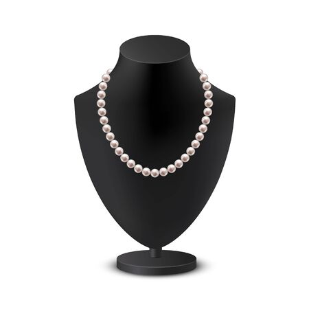 Female bust mannequin with necklace realistic illustration. Black neck model rack with collar of pearls. Ladies holder jewelry, bijouterie. Vector illustration isolated on white background.