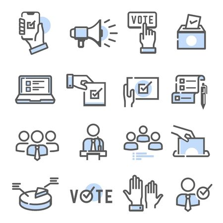 Voting and election set of thin line icons isolated on white. Politician, electorate outline blue pictograms collection, logos. Ballot box, speaker, candidate vector elements for infographic, web.
