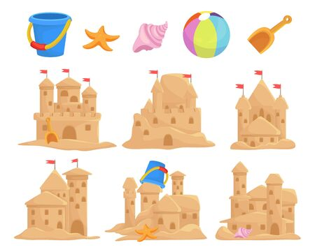 Sandcastles set and children toys bucket, seashell, scoop, starfish, ball. Sand palace, sculpture, tower. Иллюстрация