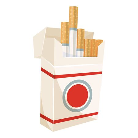 Pack of cigarettes, open tobacco cardboard box. Smoking warning. Vector flat style cartoon illustration isolated on white background