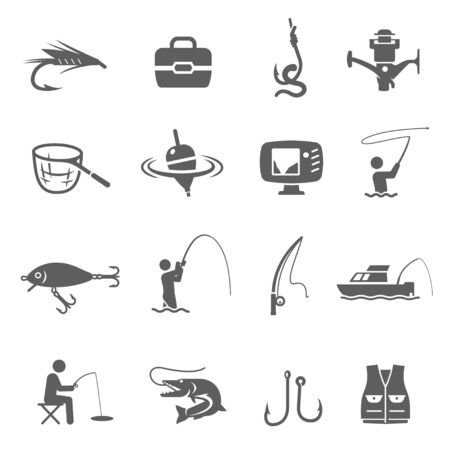 Fishing icon set, catching fish sport and hobby. Camping activity. Vector line art illustration isolated on white background