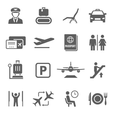 Airport icon set, travel by airplane and transportation. Maintenance of civil aircraft, with facilities for passengers. Vector line art illustration isolated on white background