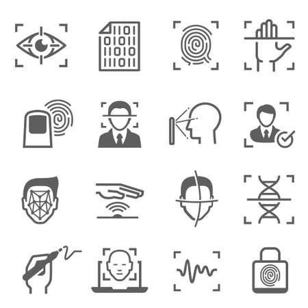 Biometric, digital identification and safety recognition technology Stock Illustratie