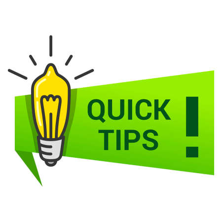 Quick tips icon with lightbulb, exclamation mark. Lifehack, useful information, message, advice sign.