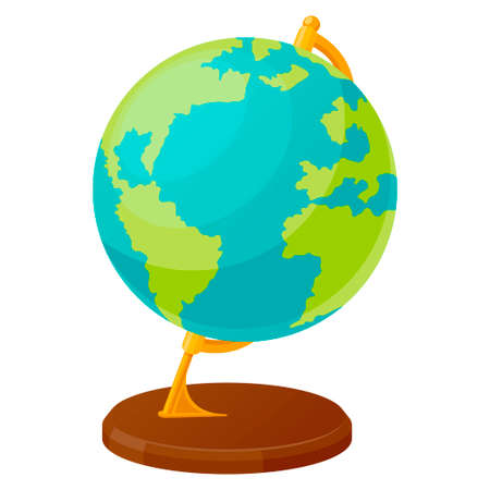 The globe in flat style. Spherical model of Earth for educational, scientific purposes. School supplies.