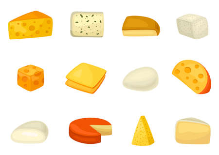 Cheese icon set, delicious and healthy assortment. Dairy product assortment. Vector flat style cartoon illustration isolated on white background Иллюстрация