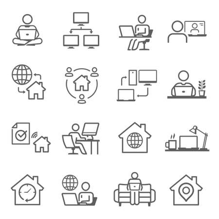 Work from home icon set, freelancer business