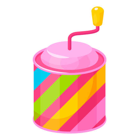 Music box. Multicolor toy cylindrical shaped with rotary handle for children.