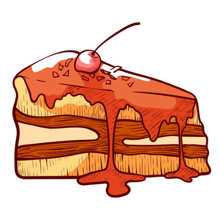 Piece of layer cake, gateau with buttercream coated by icing. Glazed dessert, pastry garnished by cherry.