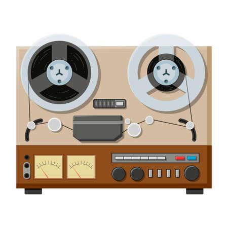 Tape recorder, deck or machine in retro style with bobbins. Sound retro audio device.