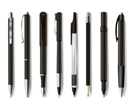Pens and pencils assortment realistic mockups set. Stationery collection. Writing, drawing implements.