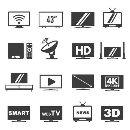 Television, screen, display line and bold icons set isolated on white. Tv, multimedia, hd pictograms.