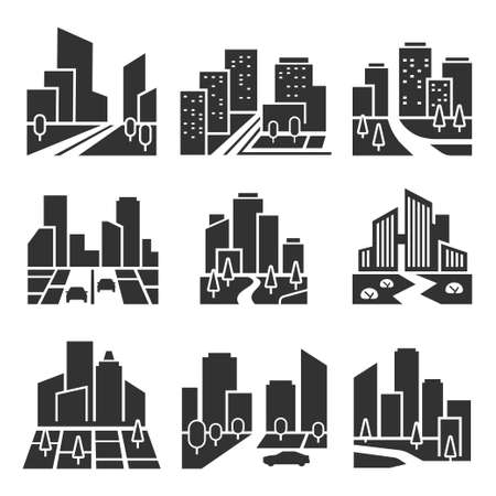 Residential area, housing estate silhouette icons set isolated on white. Cityscape, town. Vettoriali