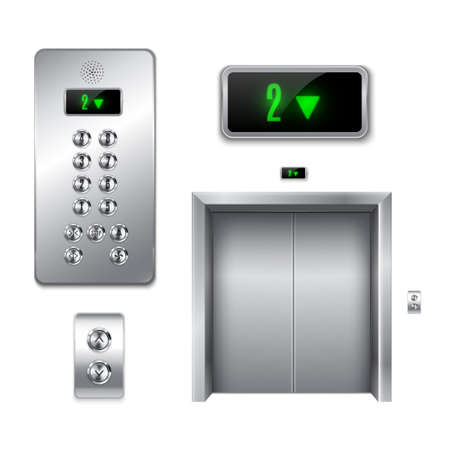 Elevator with closed doors and its components. Buttons and arrows boards, display.