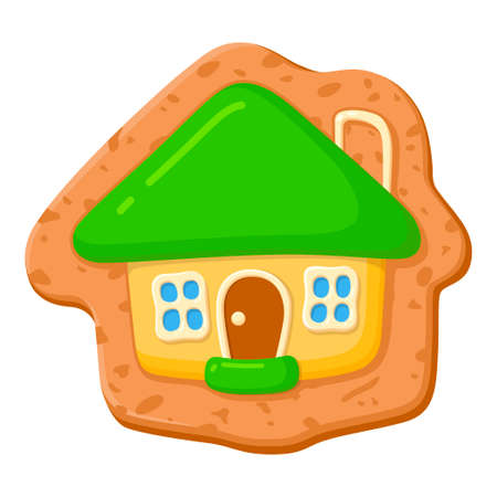 Sweet gingerbread, traditional homemade cookie in a house shape