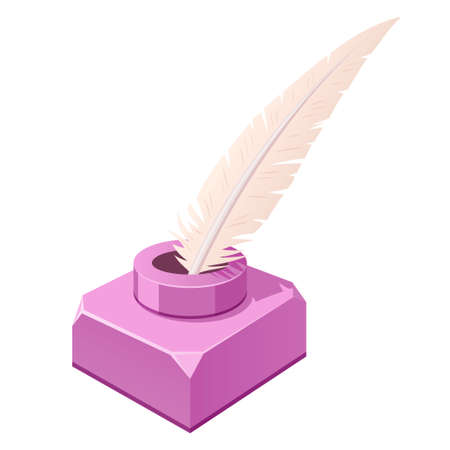 Feather and inkwell purple. Writing implements. Quill pen and square container, jar for holding ink.
