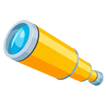 Spyglass yellow flat icon. Telescope, field scope, monocular, magnifying lens equipment.