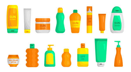 Sunscreen plastic jar, tube, bottles with dispenser mockups flat set. Sunburn protection.