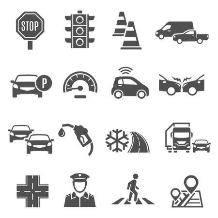 Traffic lights, jam, crosswalk bold silhouette icons set isolated on white. Ilustracje wektorowe