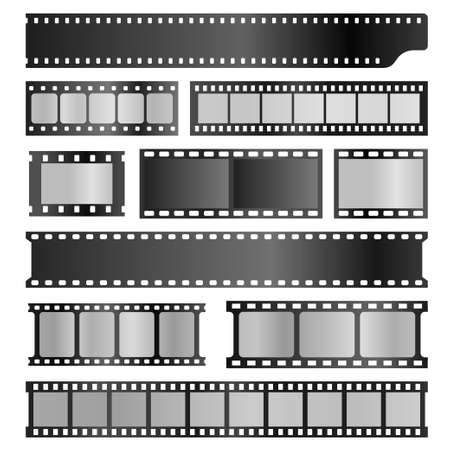 Filmstrips realistic set. Film or photograph frames, stripes, photo negative, projector, movie. Vektoros illusztráció
