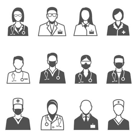 Medical staff in uniform with stethoscope icons set isolated on white. Doctor, physician.